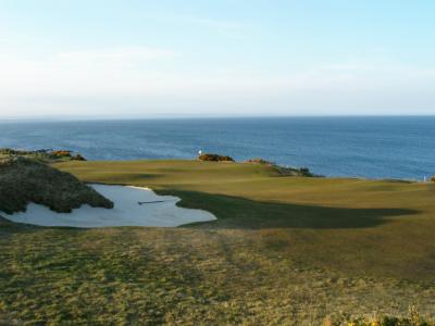 Bunker en campo de golf en St Andrews, Escocia