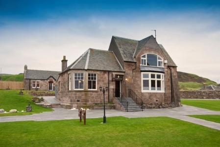 Clubhouse en el campo de golf de Machrihanish Dunes en Escocia
