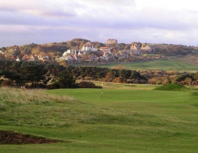 Fairway en el campo de golf de Muirfield en Edimburgo, Escocia