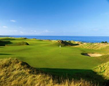 Fairways en el campo de golf de Kinsbarns en Escocia